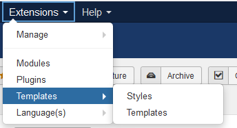 اذهب إلى Extensions Menu > Templates > Templates