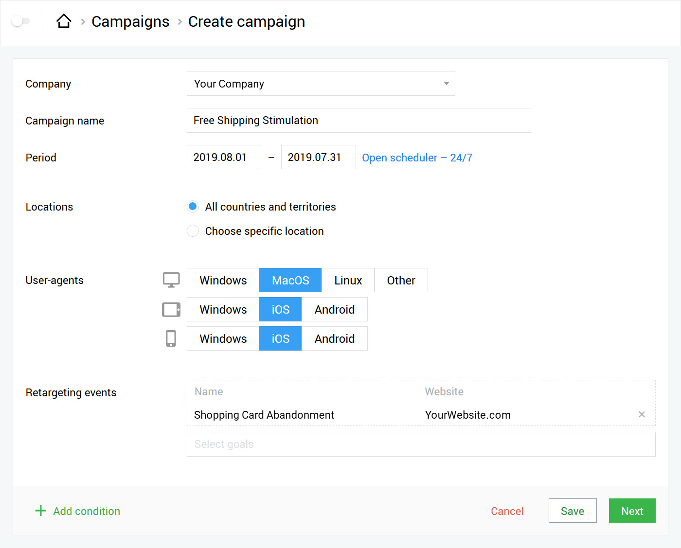 Creating a campaign with the retargeting option