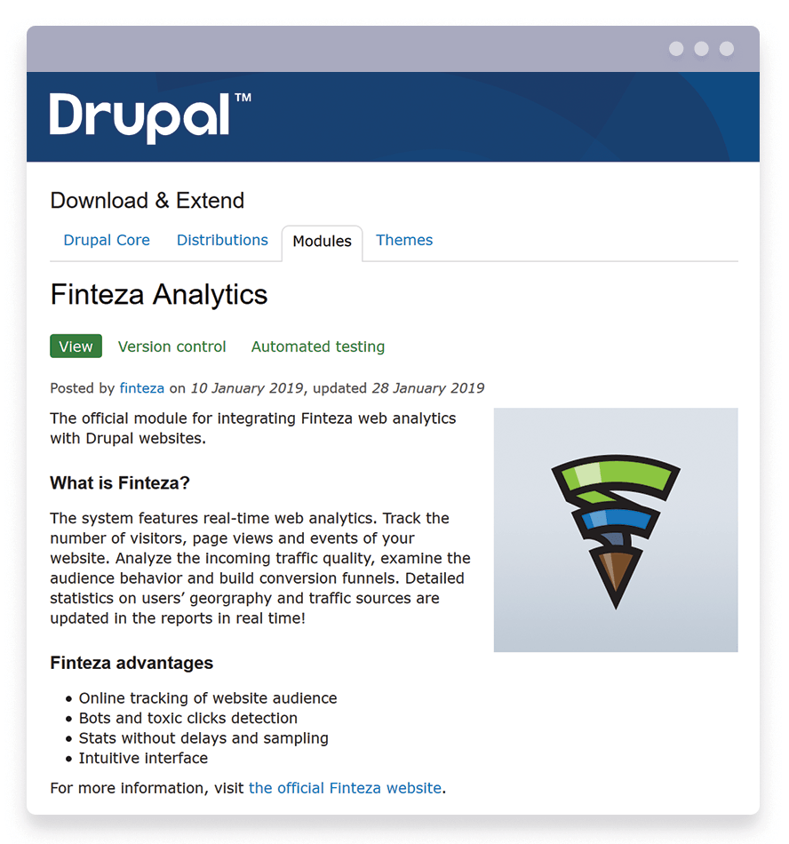 Le module Finteza Analytics pour les sites Web Drupal