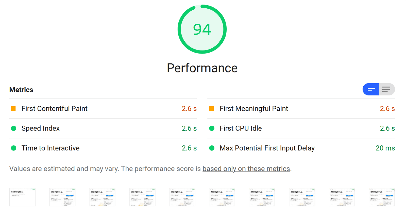 Website speed test — the system compares your site's loading speed with the one from other sites