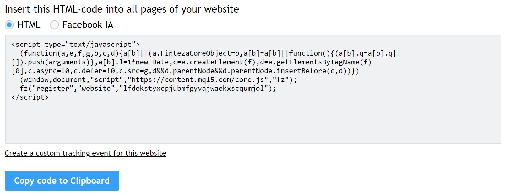 Copy and paste the HTML code into your site's head tags