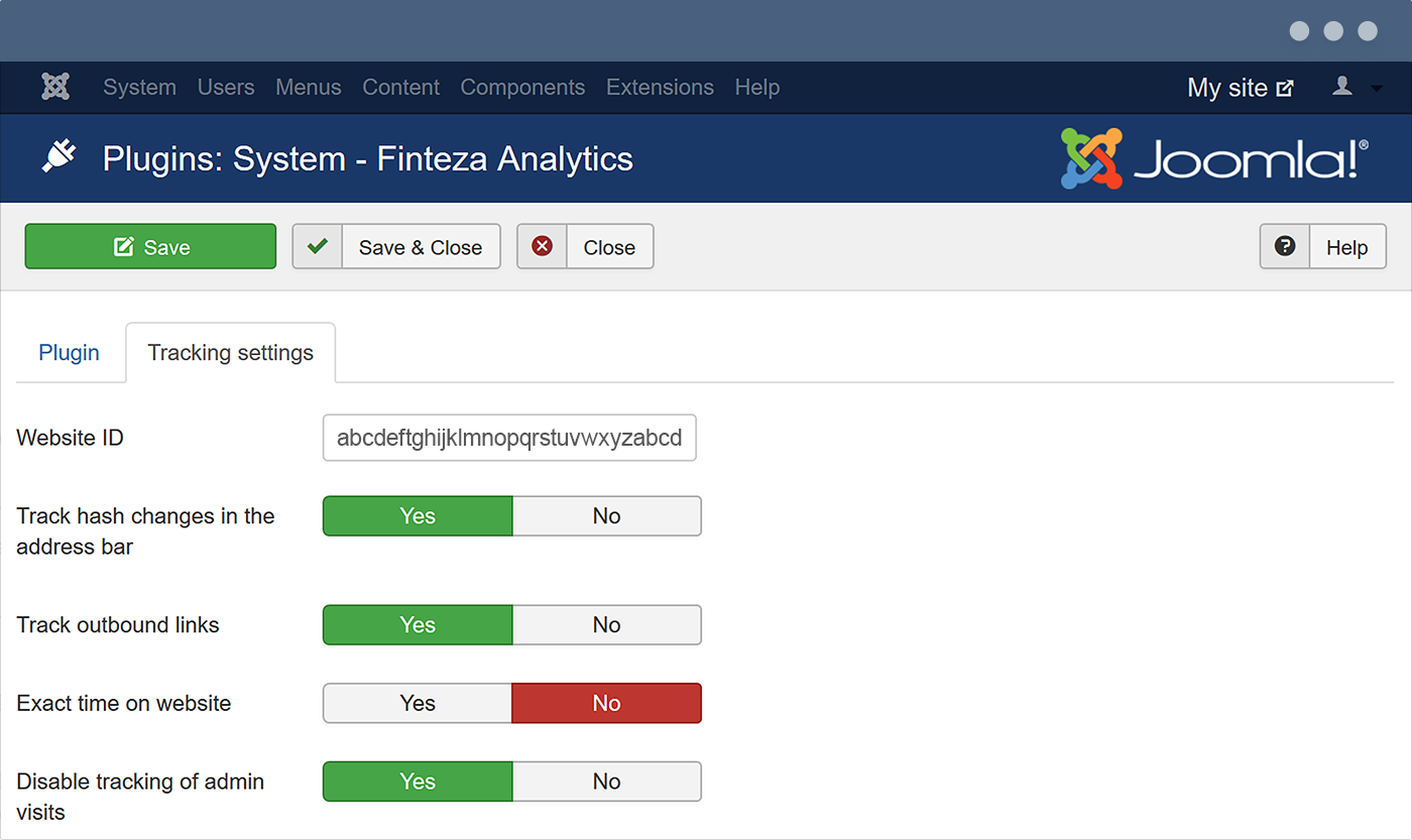 Register an account in Finteza and save the generated website ID