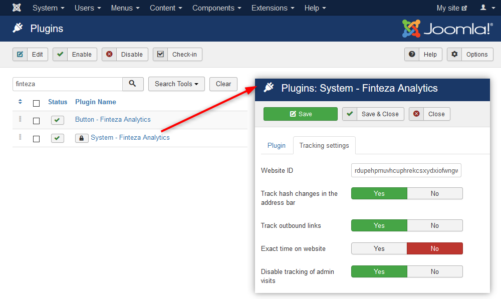 "Find ""System - Finteza Analytics"" and open it to configure plugin parameters"