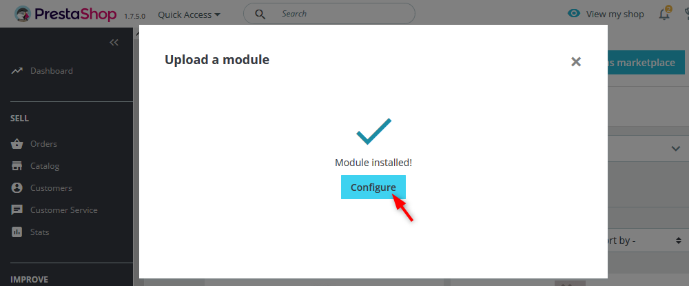 Upload the plugin ZIP file and click Configure