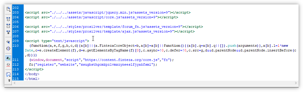 Paste the Finteza code before&nbsp;the </body></html> tags