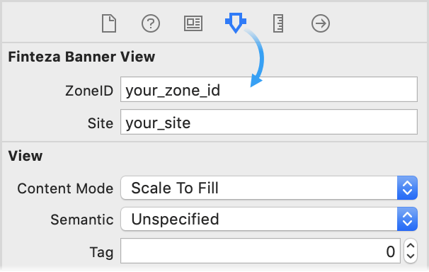 Zone-ID og websted/applikationsnavn kan specificeres via Interface Builder