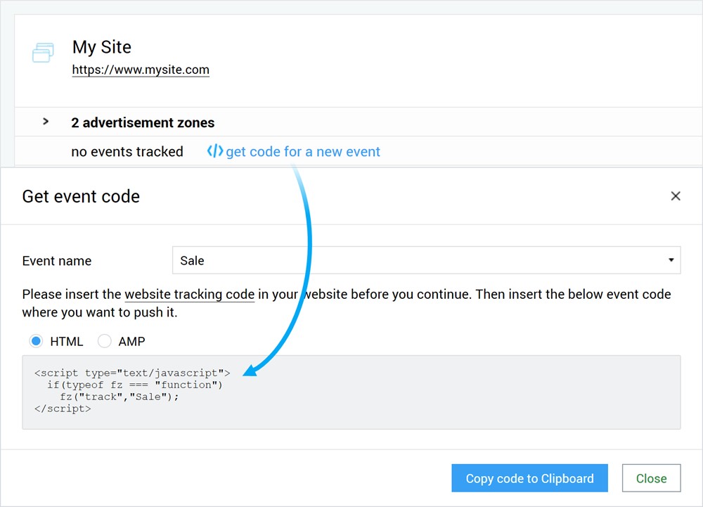 Get Finteza tracking code to register purchases