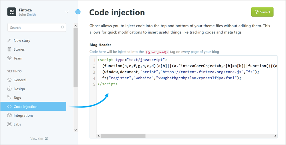Paste the Finteza code in Code injection \ Blog Header