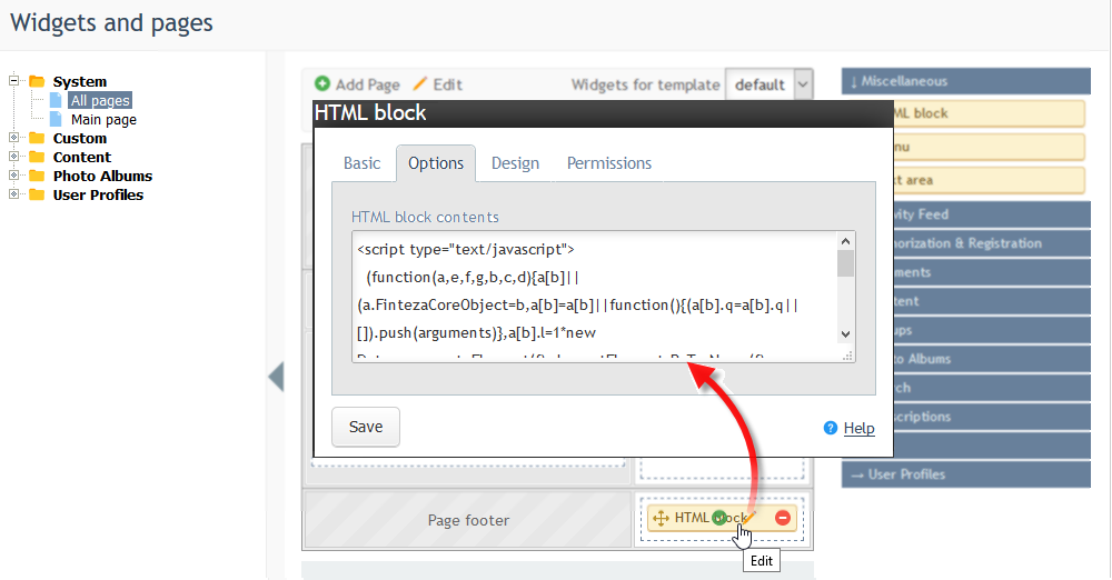 "In the ""HTML block"" editor, open the Options tab and paste the Finteza code"