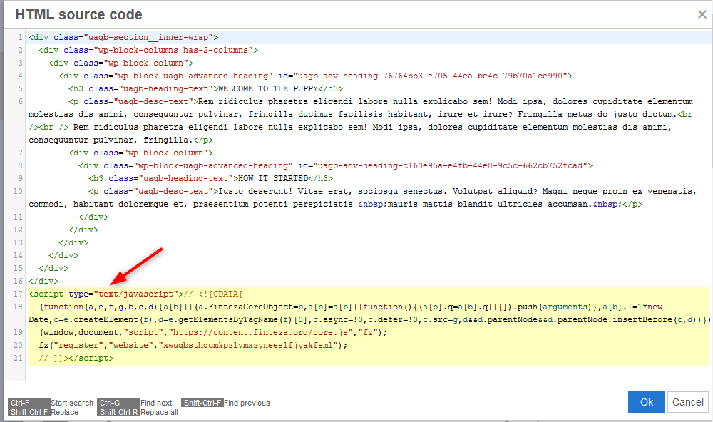 Paste the Finteza code in the bottom of the page source code and click OK