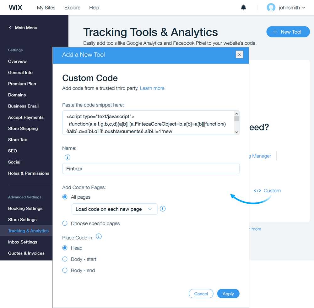 vai su Settings \ Tracking & Analytics