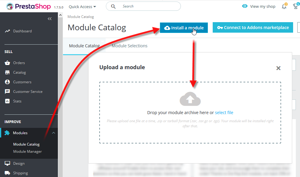 Eklentiyi indirin ve site kontrol panelinden Improve -> Modules -> Module catalog'a gidin